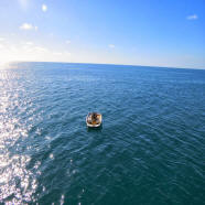 Boater alone in the water